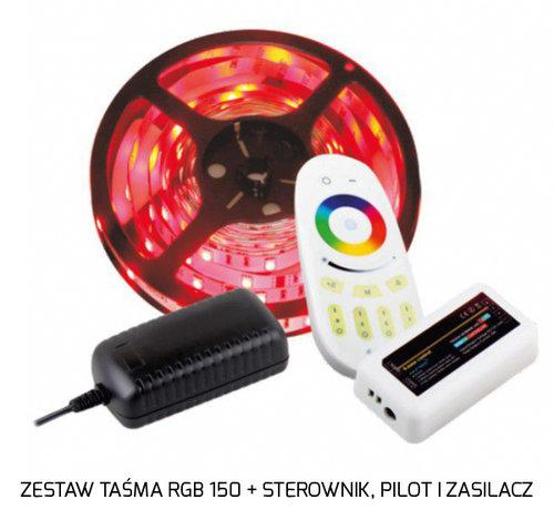 tasma led rgb 150 w zestawie z pilotem, sterownikiem i zasilaniem - designlight.pl