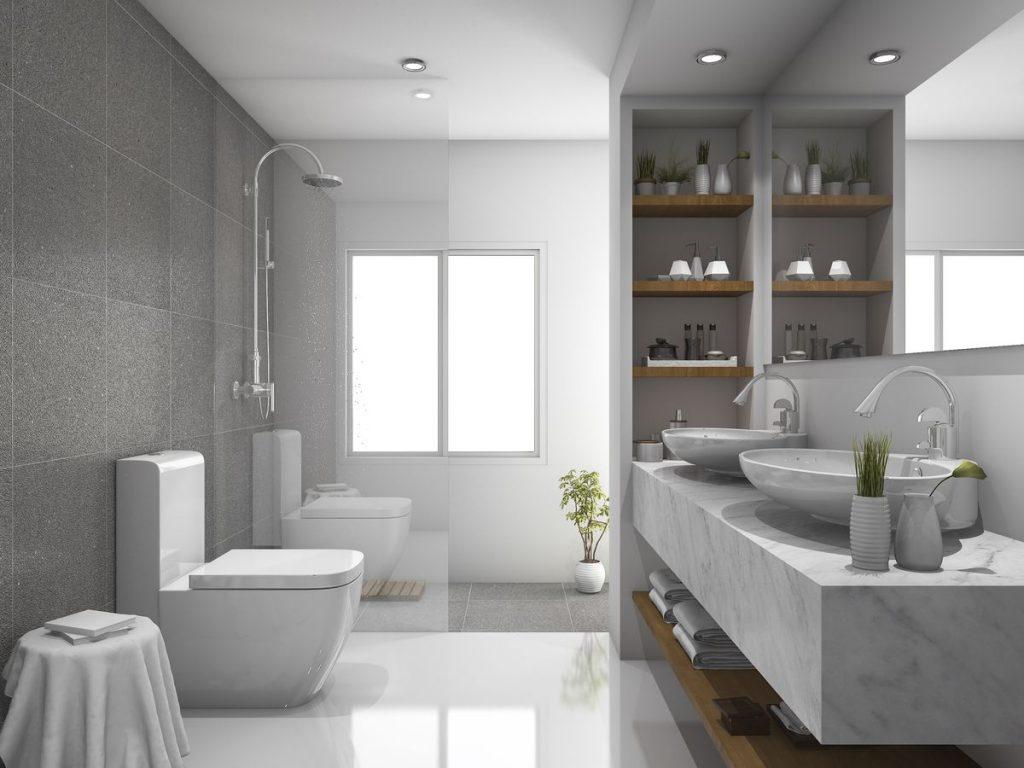 Nowoczesna, duża łazienka oświetlona za pomocą oczek LED umieszczonych w suficie.